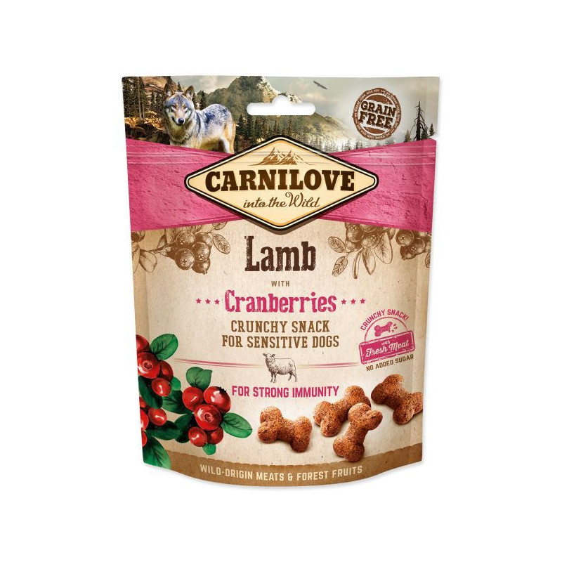 CARNILOVE CRUNCHY SNACK LAMB WITH CRANBERRIES WITH FRESH MEAT 200g