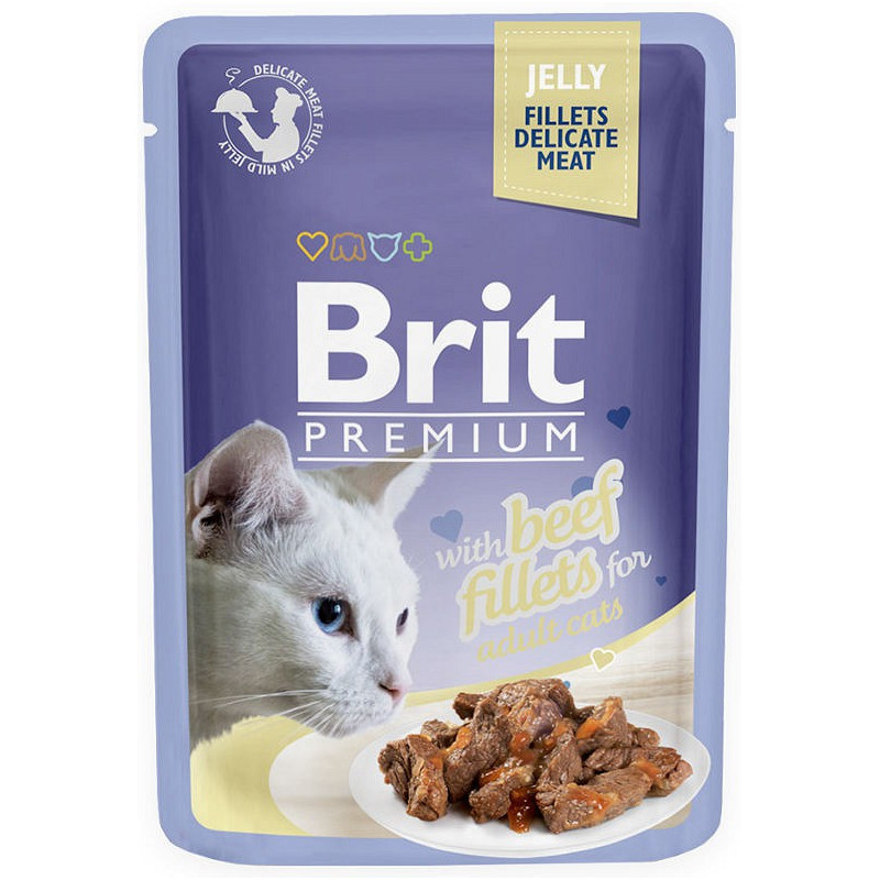 Brit Premium CAT Jelly Fillets With Beef WOŁOWINA 85g