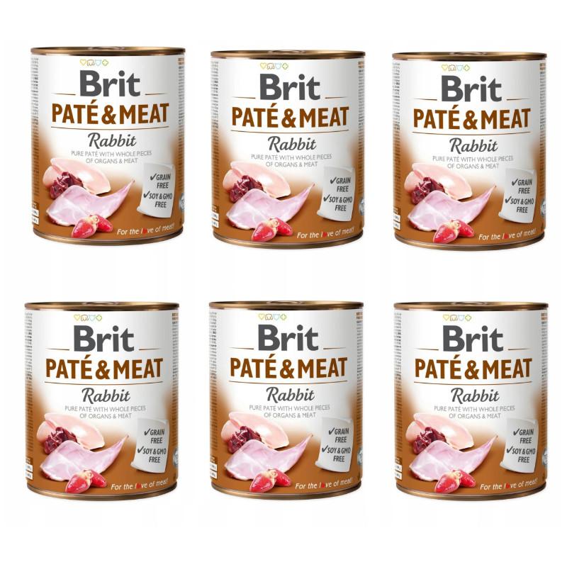 Brit Pate&Meat Rabbit KRÓLIK Zestaw 6 x 800g