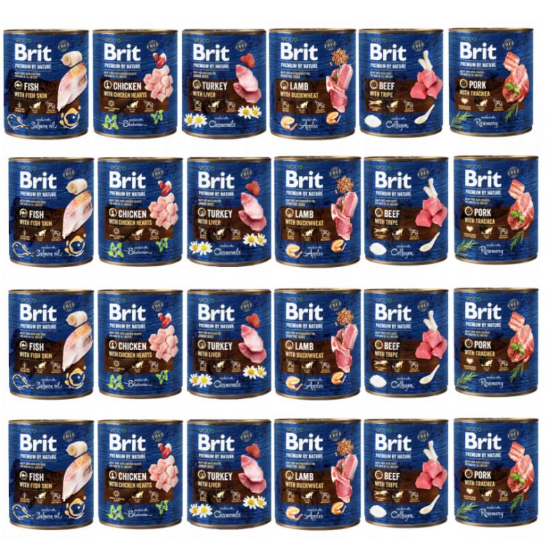 Brit Premium By Nature MIX SMAKÓW 24 x 800g