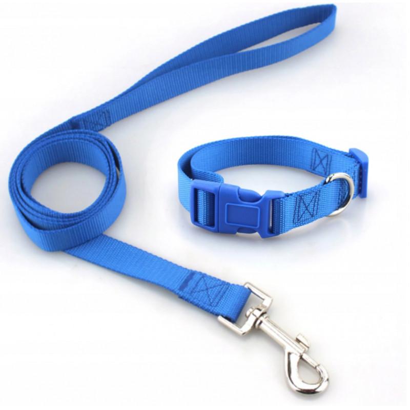 KOMPLET SMYCZ + OBROŻA dla Psa Kota Królika 20mm S (Niebieski)