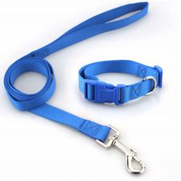 KOMPLET SMYCZ + OBROŻA REGULOWANA dla Psa 15mm M (Niebieski)