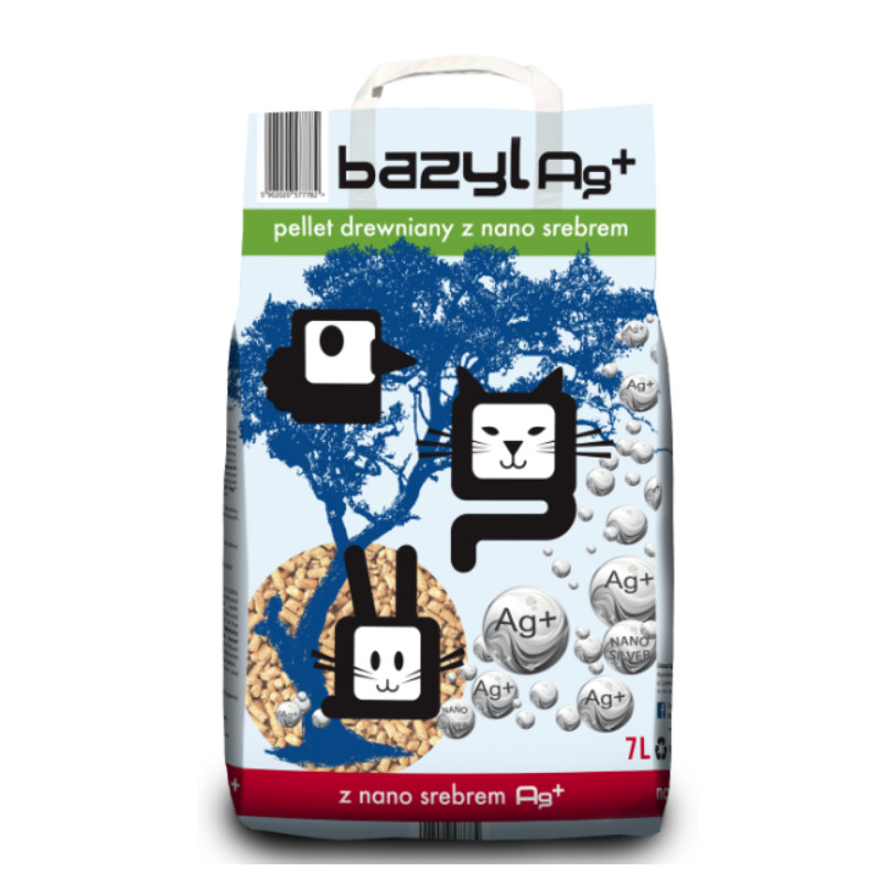 BAZYL Ag+ Pellet DREWNIANY ze Srebrem dla Kota 7 L
