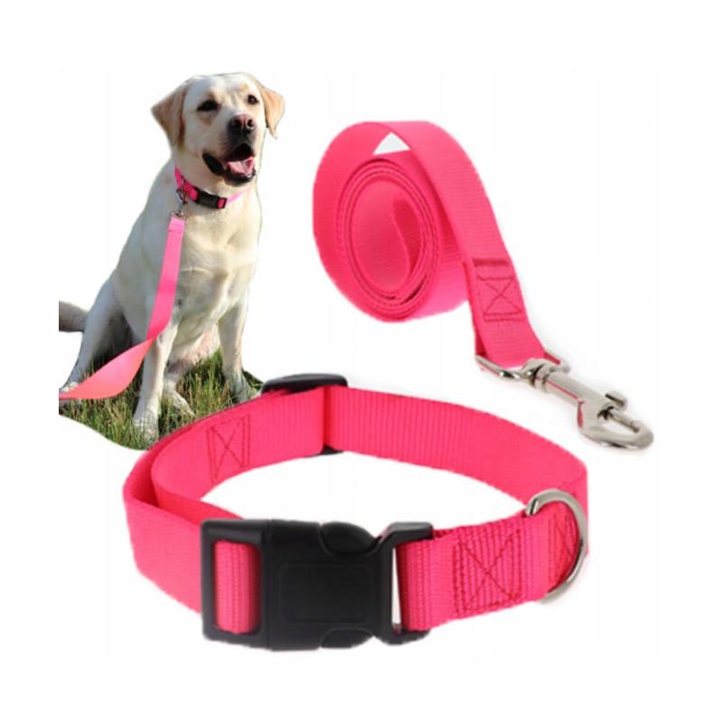 Komplet SMYCZ + OBROŻA Regulowana dla Psa 20mm L (Różowy)