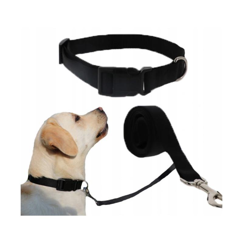 Komplet SMYCZ + OBROŻA Regulowana dla Psa 20mm L (Czarny)