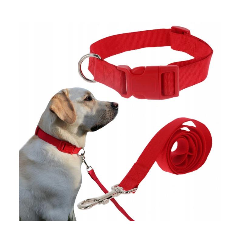 Komplet SMYCZ + OBROŻA Regulowana dla Psa 20mm L (Czerwony)