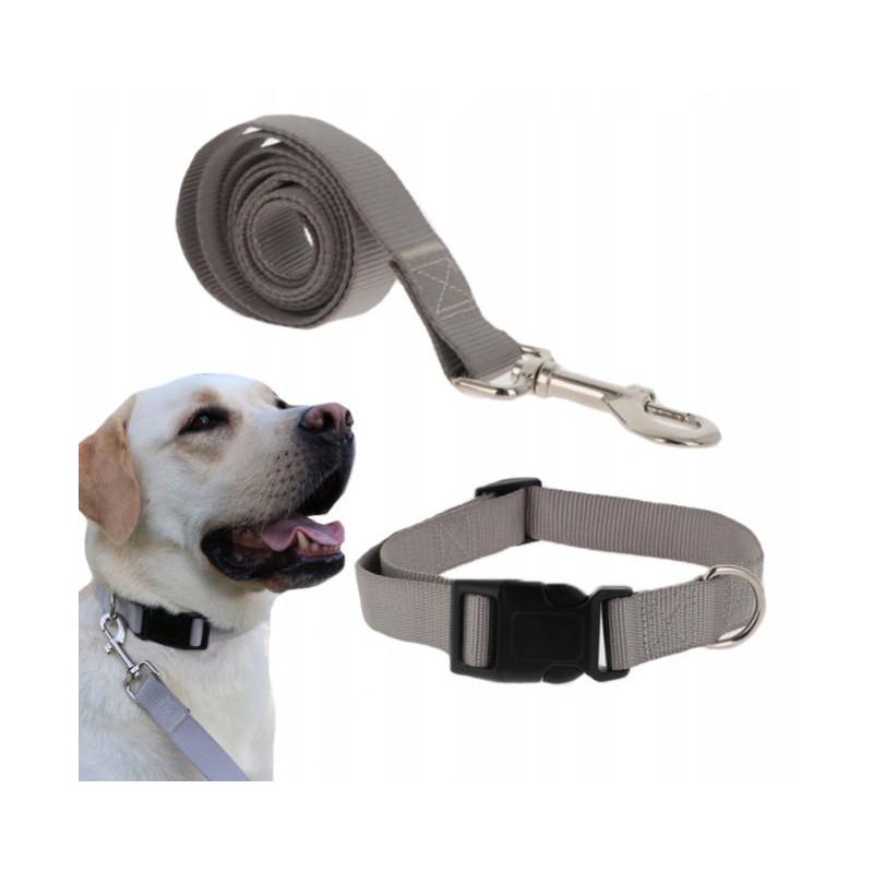 Komplet SMYCZ + OBROŻA Regulowana dla Psa 25mm XL (Szary)