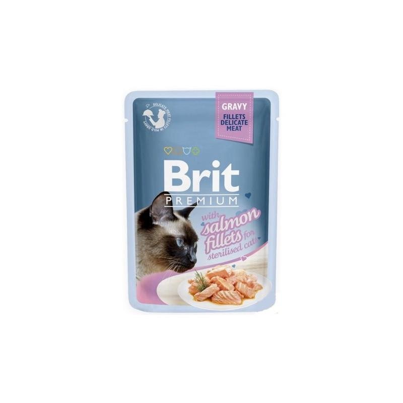 Brit Premium Cat Sterilised Gravy Fillets with Salmon ŁOSOŚ 85g